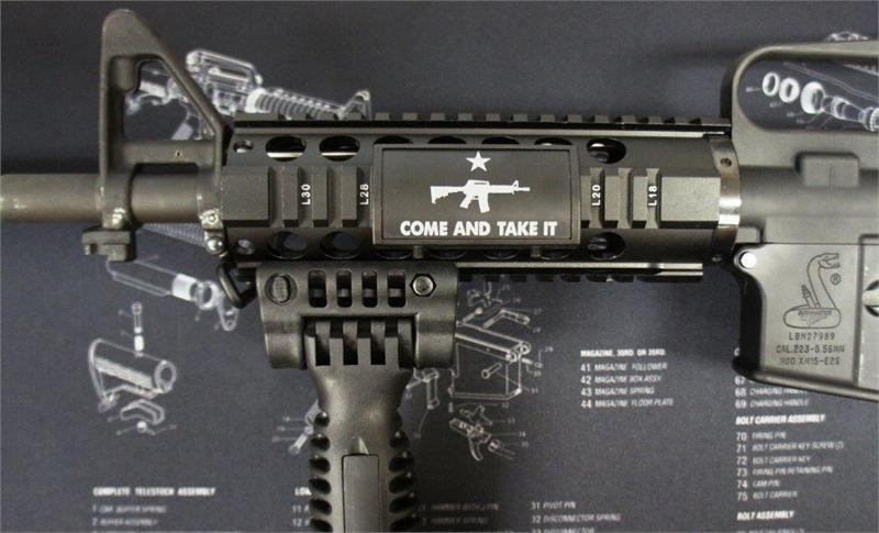 Ar custom picatinny rail cover ar come and take it black retainer