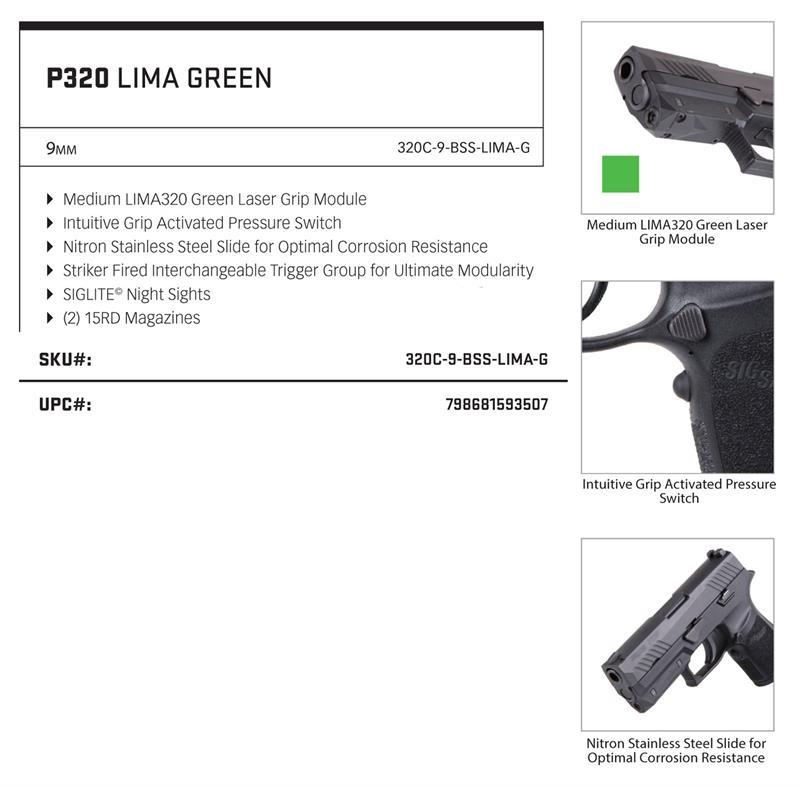 Sig Sauer 320C9BSSLIMA P320 Compact 9mm Luger Double 3 9